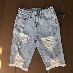 Long high rise ripped jean shorts